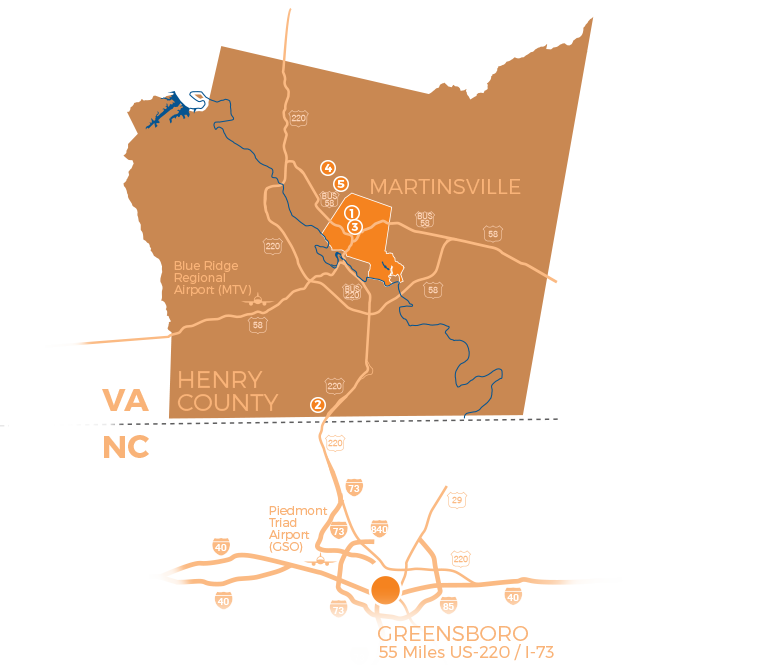 map of the martinsville/henry-county area