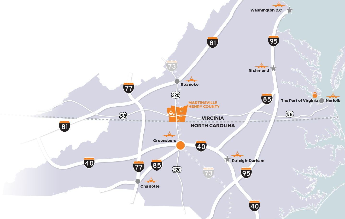 map showing distance to greensboro